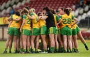 4 August 2018; The Donegal team pre match team huddle before the TG4 All-Ireland Ladies Football Senior Championship quarter-final match between Armagh and Donegal at Healy Park in Omagh, Tyrone. Photo by Oliver McVeigh/Sportsfile