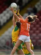 4 August 2018; Aimee Mackin of Armagh in action against Ciara Hegarty of Donegal during the TG4 All-Ireland Ladies Football Senior Championship quarter-final match between Armagh and Donegal at Healy Park in Omagh, Tyrone. Photo by Oliver McVeigh/Sportsfile