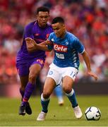 4 August 2018; Adam Ounas of Napoli and Trent Alexander-Arnold of Liverpool during the Pre Season Friendly match between Liverpool and Napoli at the Aviva Stadium in Dublin. Photo by Stephen McCarthy/Sportsfile
