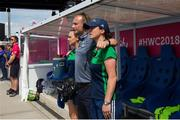 4 August 2018; Head Coach of Ireland Graham Shaw with his assistant Arlene Boyles stand for the anthems during the Women's Hockey World Cup Finals semi-final match between Ireland and Spain at the Lee Valley Hockey Centre in QE Olympic Park, London, England. Photo by Craig Mercer/Sportsfile