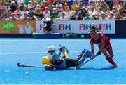 4 August 2018; Ayeisha McFerran of Ireland saves the penalty of Beatriz Perez of Spain in the shootout during the Women's Hockey World Cup Finals semi-final match between Ireland and Spain at the Lee Valley Hockey Centre in QE Olympic Park, London, England. Photo by Craig Mercer/Sportsfile
