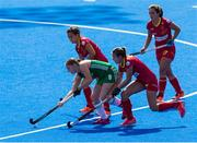 4 August 2018; Kathryn Mullan of Ireland in action during the Women's Hockey World Cup Finals semi-final match between Ireland and Spain at the Lee Valley Hockey Centre in QE Olympic Park, London, England. Photo by Craig Mercer/Sportsfile
