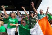4 August 2018;  Ireland fans react during the Women's Hockey World Cup Finals semi-final match between Ireland and Spain at the Lee Valley Hockey Centre in QE Olympic Park, London, England. Photo by Craig Mercer/Sportsfile