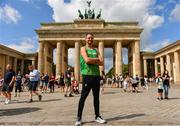 5 August 2018; Thomas Barr of Ireland poses for a portrait at the Brandenburg Gate in Berlin prior to the official opening of the 2018 European Athletics Championships in Berlin, Germany. Photo by Sam Barnes/Sportsfile