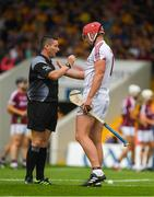 5 August 2018; Referee Fergal Horgan talking to goalkeeper James Skehill of Galway before the GAA Hurling All-Ireland Senior Championship semi-final replay match between Galway and Clare at Semple Stadium in Thurles, Co Tipperary. Photo by Ray McManus/Sportsfile