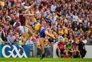 5 August 2018; Joseph Cooney of Galway in action against Peter Duggan of Clare during the GAA Hurling All-Ireland Senior Championship semi-final replay match between Galway and Clare at Semple Stadium in Thurles, Co Tipperary. Photo by Brendan Moran/Sportsfile