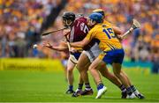 5 August 2018; Aidan Harte of Galway is tackled by Shane O'Donnell and Seadna Morey of Clare during the GAA Hurling All-Ireland Senior Championship semi-final replay match between Galway and Clare at Semple Stadium in Thurles, Co Tipperary. Photo by Brendan Moran/Sportsfile