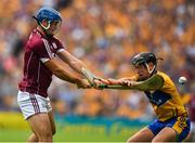 5 August 2018; Johnny Coen of Galway has his clearance blocked by David Reidy of Clare during the GAA Hurling All-Ireland Senior Championship semi-final replay match between Galway and Clare at Semple Stadium in Thurles, Co Tipperary. Photo by Brendan Moran/Sportsfile
