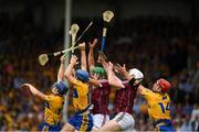 5 August 2018; Clare players, from left, Tony Kelly, Shane O'Donnell and John Conlon compete for possession against Adrian Tuohy and Padraic Mannion of Galway during the GAA Hurling All-Ireland Senior Championship semi-final replay match between Galway and Clare at Semple Stadium in Thurles, Co Tipperary. Photo by Ray McManus/Sportsfile