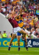 5 August 2018; Daithí Burke of Galway gains possession ahead of John Conlon of Clare during the GAA Hurling All-Ireland Senior Championship semi-final replay match between Galway and Clare at Semple Stadium in Thurles, Co Tipperary. Photo by Brendan Moran/Sportsfile