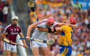 5 August 2018; James Skehill of Galway is tackled by John Conlon of Clare during the GAA Hurling All-Ireland Senior Championship semi-final replay match between Galway and Clare at Semple Stadium in Thurles, Co Tipperary. Photo by Brendan Moran/Sportsfile