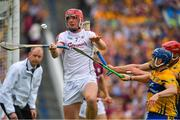 5 August 2018; James Skehill of Galway is tackled by Pádraic Collins and John Conlon of Clare during the GAA Hurling All-Ireland Senior Championship semi-final replay match between Galway and Clare at Semple Stadium in Thurles, Co Tipperary. Photo by Brendan Moran/Sportsfile