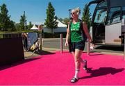 5 August 2018; Ayeisha McFerran of Ireland arrives before the Women's Hockey World Cup Final match between Ireland and Netherlands at the Lee Valley Hockey Centre in QE Olympic Park, London, England. Photo by Craig Mercer/Sportsfile