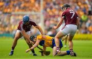 5 August 2018; Tony Kelly of Clare is tackled by Johnny Coen, left, and Aidan Harte of Galway  during the GAA Hurling All-Ireland Senior Championship semi-final replay match between Galway and Clare at Semple Stadium in Thurles, Co Tipperary. Photo by Brendan Moran/Sportsfile
