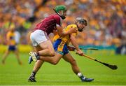 5 August 2018; David Reidy of Clare is tackled by Adrian Tuohy of Galway during the GAA Hurling All-Ireland Senior Championship semi-final replay match between Galway and Clare at Semple Stadium in Thurles, Co Tipperary. Photo by Brendan Moran/Sportsfile