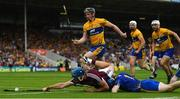 5 August 2018; Conor Cooney of Galway stretches for the sliotar following a save by Clare goalkeeper Donal Tuohy during the GAA Hurling All-Ireland Senior Championship semi-final replay between Galway and Clare at Semple Stadium in Thurles, Co Tipperary. Photo by Ramsey Cardy/Sportsfile