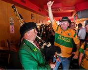 5 August 2018; Bagpiper and Donegal supporter Christy Murray, from Raphoe, Co Donegal, plays for the crowd prior to the GAA Football All-Ireland Senior Championship Quarter-Final Group 2 Phase 3 match between Tyrone and Donegal at MacCumhaill Park in Ballybofey, Co Donegal. Photo by Stephen McCarthy/Sportsfile