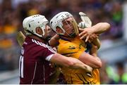 5 August 2018; Conor Cleary of Clare is tackled by Joe Canning of Galway during the GAA Hurling All-Ireland Senior Championship semi-final replay between Galway and Clare at Semple Stadium in Thurles, Co Tipperary. Photo by Ramsey Cardy/Sportsfile
