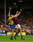 5 August 2018; Jonathan Glynn of Galway wins possession ahead of David McInerney of Clare on his way to scoring his side's first goal during the GAA Hurling All-Ireland Senior Championship semi-final replay between Galway and Clare at Semple Stadium in Thurles, Co Tipperary. Photo by Ramsey Cardy/Sportsfile