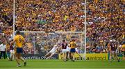 5 August 2018; Peter Duggan of Clare shoots past James Skehill of Galway in goal for Clare's second goal in the 54th minute of the GAA Hurling All-Ireland Senior Championship semi-final replay match between Galway and Clare at Semple Stadium in Thurles, Co Tipperary. Photo by Ray McManus/Sportsfile
