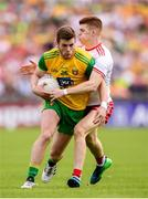5 August 2018; Eoghan Bán Gallagher of Donegal in action against Cathal McShane of Tyrone during the GAA Football All-Ireland Senior Championship Quarter-Final Group 2 Phase 3 match between Tyrone and Donegal at MacCumhaill Park in Ballybofey, Co Donegal. Photo by Stephen McCarthy/Sportsfile