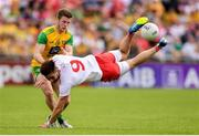 5 August 2018; Padraig Hampsey of Tyrone in action against Eoghan Bán Gallagher of Donegal during the GAA Football All-Ireland Senior Championship Quarter-Final Group 2 Phase 3 match between Tyrone and Donegal at MacCumhaill Park in Ballybofey, Co Donegal. Photo by Stephen McCarthy/Sportsfile