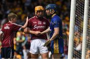 5 August 2018; Davey Glennon of Galway is congratulated by a young supporter as he shakes hands with Clare goalkeeper Donal Tuohy after the GAA Hurling All-Ireland Senior Championship semi-final replay match between Galway and Clare at Semple Stadium in Thurles, Co Tipperary. Photo by Ray McManus/Sportsfile