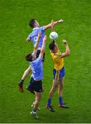 5 August 2018; Michael Darragh MacAuley, top, and Eric Lowndes of Dublin in action against Tadhg O'Rourke of Roscommon during the GAA Football All-Ireland Senior Championship Quarter-Final Group 2 Phase 3 match between Dublin and Roscommon at Croke Park in Dublin. Photo by Daire Brennan/Sportsfile