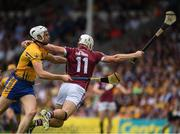 5 August 2018; Joe Canning of Galway is tackled by Conor Cleary of Clare during the GAA Hurling All-Ireland Senior Championship semi-final replay match between Galway and Clare at Semple Stadium in Thurles, Co Tipperary. Photo by Ray McManus/Sportsfile