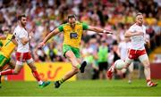 5 August 2018; Michael Murphy of Donegal shoots to score his side's first goal during the GAA Football All-Ireland Senior Championship Quarter-Final Group 2 Phase 3 match between Tyrone and Donegal at MacCumhaill Park in Ballybofey, Co Donegal. Photo by Stephen McCarthy/Sportsfile