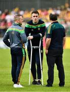 5 August 2018; Patrick McBrearty of Donegal out with a season long injury on crutches before the GAA Football All-Ireland Senior Championship Quarter-Final Group 2 Phase 3 match between Tyrone and Donegal at MacCumhaill Park in Ballybofey, Co Donegal. Photo by Oliver McVeigh/Sportsfile