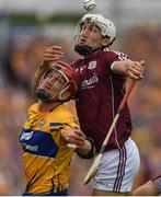 5 August 2018; Daithi Burke of Galway in action against John Conlon of Clare during the GAA Hurling All-Ireland Senior Championship semi-final replay match between Galway and Clare at Semple Stadium in Thurles, Co Tipperary. Photo by Ray McManus/Sportsfile