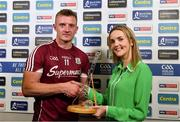 5 August 2018; Joe Canning of Galway is presented with his Bord Gáis Energy man of the match award by Ann McMahon, Financial Controller at Bord Gáis Energy, following the GAA Hurling All-Ireland Senior Championship Semi-Final Replay match between Galway and Clare at Semple Stadium in Thurles, Co Tipperary. Photo by Brendan Moran/Sportsfile