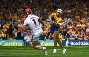 5 August 2018; Aron Shanagher of Clare in action against James Skehill of Galway during the GAA Hurling All-Ireland Senior Championship semi-final replay between Galway and Clare at Semple Stadium in Thurles, Co Tipperary. Photo by Ramsey Cardy/Sportsfile