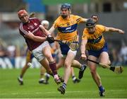 5 August 2018; Conor Whelan of Galway breaks his hurl as he is blocked down by David Fitzgerald and Tony Kelly of Clare during the GAA Hurling All-Ireland Senior Championship semi-final replay match between Galway and Clare at Semple Stadium in Thurles, Co Tipperary. Photo by Diarmuid Greene/Sportsfile