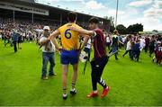 5 August 2018; Conor Cleary of Clare is consoled by a Galway supporter after the GAA Hurling All-Ireland Senior Championship semi-final replay match between Galway and Clare at Semple Stadium in Thurles, Co Tipperary. Photo by Brendan Moran/Sportsfile