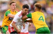 5 August 2018; Mattie Donnelly of Tyrone in action against Ciaran Thompson, left, and Stephen McMenamin of Donegal during the GAA Football All-Ireland Senior Championship Quarter-Final Group 2 Phase 3 match between Tyrone and Donegal at MacCumhaill Park in Ballybofey, Co Donegal. Photo by Stephen McCarthy/Sportsfile