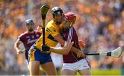 5 August 2018; Jonathan Glynn of Galway is tackled by Cathal Malone of Clare during the GAA Hurling All-Ireland Senior Championship semi-final replay match between Galway and Clare at Semple Stadium in Thurles, Co Tipperary. Photo by Brendan Moran/Sportsfile