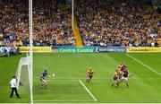 5 August 2018; Jonathan Glynn of Galway shoots to score his side's first goal of the game despite the attention of David McInerney of Clare during the GAA Hurling All-Ireland Senior Championship semi-final replay between Galway and Clare at Semple Stadium in Thurles, Co Tipperary. Photo by Ramsey Cardy/Sportsfile