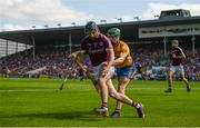 5 August 2018; Aidan Harte of Galway in action against Michael O'Malley of Clare during the GAA Hurling All-Ireland Senior Championship semi-final replay match between Galway and Clare at Semple Stadium in Thurles, Co Tipperary. Photo by Diarmuid Greene/Sportsfile