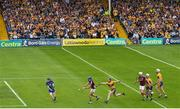 5 August 2018; Conor Cooney of Galway in action against Clare goalkeeper Donal Tuohy and Jamie Shanahan during the GAA Hurling All-Ireland Senior Championship semi-final replay between Galway and Clare at Semple Stadium in Thurles, Co Tipperary. Photo by Ramsey Cardy/Sportsfile