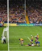 5 August 2018; Jamie Shanahan of Clare recovers the sliotar following a miss by Conor Cooney of Galway, as Joe Canning of Galway jumps over Clare goalkeeper Donal Tuohy during the GAA Hurling All-Ireland Senior Championship semi-final replay between Galway and Clare at Semple Stadium in Thurles, Co Tipperary. Photo by Ramsey Cardy/Sportsfile