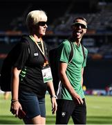 5 August 2018; Thomas Barr of Ireland, right, with his coach, Hayley Harrison, during a practice session prior to official opening of the 2018 European Athletics Championships in Berlin, Germany. Photo by Sam Barnes/Sportsfile
