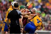 5 August 2018; Joe Canning of Galway in a tussle with Jack Browne of Clare during the GAA Hurling All-Ireland Senior Championship semi-final replay match between Galway and Clare at Semple Stadium in Thurles, Co Tipperary. Photo by Brendan Moran/Sportsfile