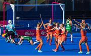 5 August 2018; Netherlands players celebrate their third goal during the Women's Hockey World Cup Final match between Ireland and Netherlands at the Lee Valley Hockey Centre in QE Olympic Park, London, England. Photo by Craig Mercer/Sportsfile