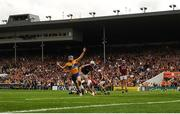 5 August 2018; Shane O'Donnell of Clare celebrates after scoring his side's first goal past Galway goalkeeper James Skehill during the GAA Hurling All-Ireland Senior Championship semi-final replay match between Galway and Clare at Semple Stadium in Thurles, Co Tipperary. Photo by Diarmuid Greene/Sportsfile