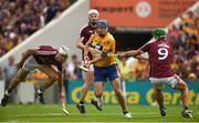 5 August 2018; Shane O'Donnell of Clare in action against Daithí Burke, left, and David Burke of Galway before going on to score his side's first goal during the GAA Hurling All-Ireland Senior Championship semi-final replay match between Galway and Clare at Semple Stadium in Thurles, Co Tipperary. Photo by Diarmuid Greene/Sportsfile