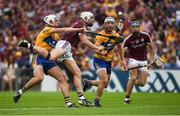 5 August 2018; Joe Canning of Galway in action against Conor Cleary, left, and Patrick O'Connor of Clare during the GAA Hurling All-Ireland Senior Championship semi-final replay match between Galway and Clare at Semple Stadium in Thurles, Co Tipperary. Photo by Diarmuid Greene/Sportsfile