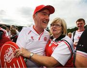 5 August 2018; Tyrone manager Mickey Harte is congratulated by a supporter following the GAA Football All-Ireland Senior Championship Quarter-Final Group 2 Phase 3 match between Tyrone and Donegal at MacCumhaill Park in Ballybofey, Co Donegal. Photo by Stephen McCarthy/Sportsfile