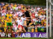 5 August 2018; Harry Loughran of Tyrone scores his side's opening goal past Donegal goalkeeper Shaun Patton during the GAA Football All-Ireland Senior Championship Quarter-Final Group 2 Phase 3 match between Tyrone and Donegal at MacCumhaill Park in Ballybofey, Co Donegal. Photo by Stephen McCarthy/Sportsfile